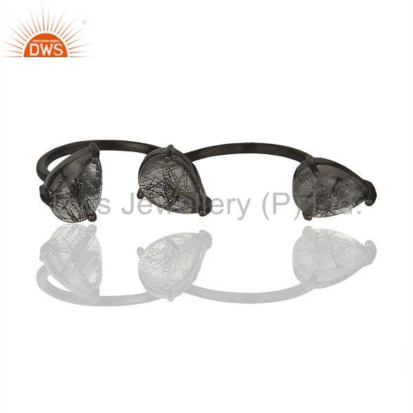 Exporter Black Rutile Quartz Gemstone 925 Sterling Silver Double Finger Rings