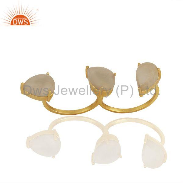 Exporter Golden Rutile Quartz Gemstone 92.5 Silver Double Finger Ring Jewelry
