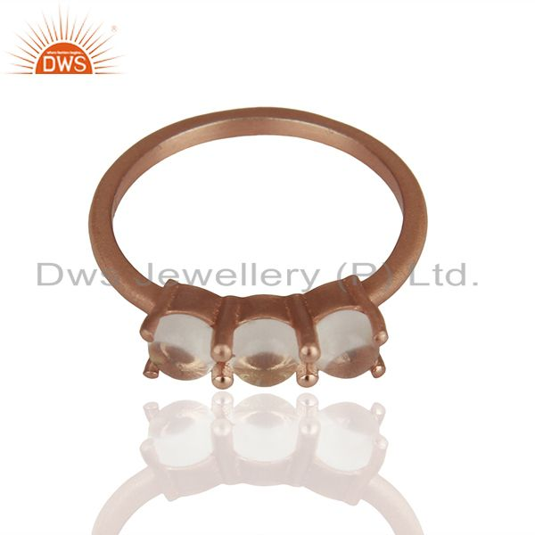 Exporter Rose Gold Plated 925 Silver Three Gemstone Rings Manufacturer