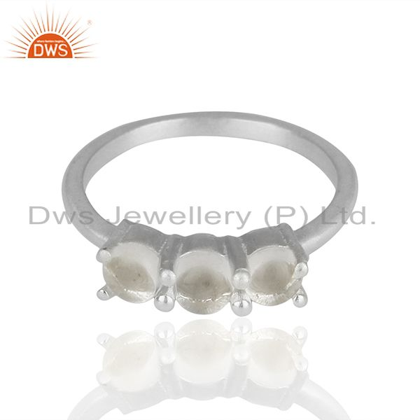 Exporter White Rhodium Plated 925 Silver Three Gemstone Rings Supplier