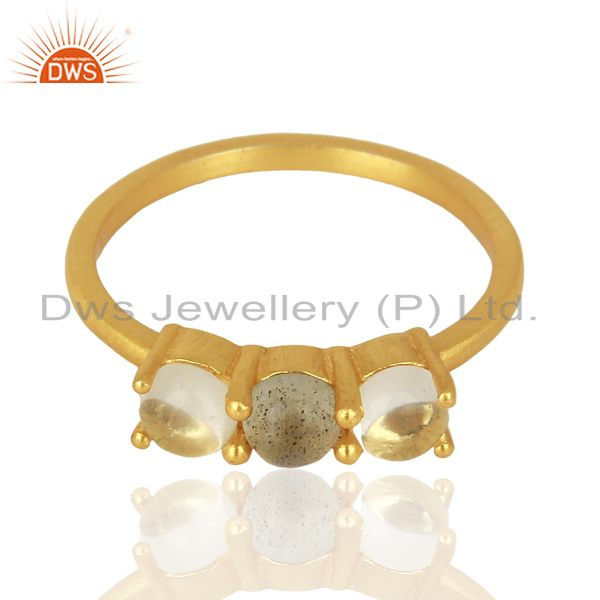 Exporter Labradorite Crystal Quartz Stackable 14K Gold Plated 925 Sterling Silver Ring