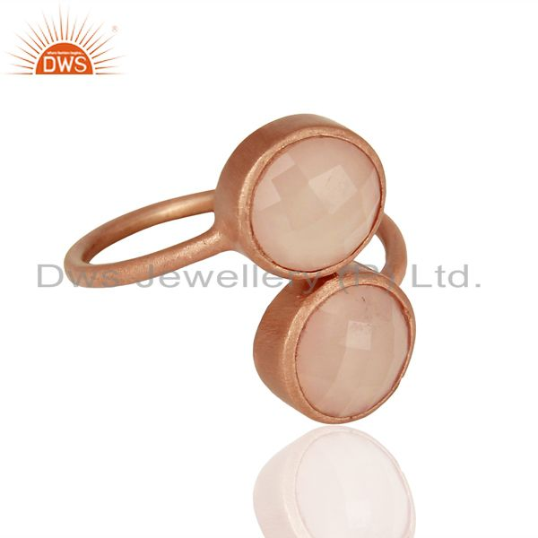 Exporter Rose Gold Plated Rose Chalcedony Gemstone Rings Jewelry Supplier