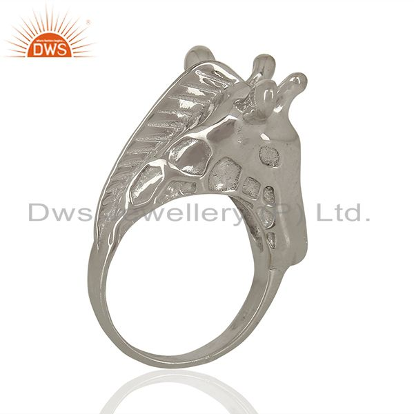 Exporter Knuckle Giraffe 925 Sterling Silver White Rhodium Plated Ring Animal Jewellery