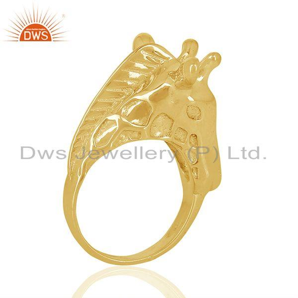 Exporter Knuckle Giraffe 925 Sterling Silver 14K Gold Plated Ring Animal Jewellery