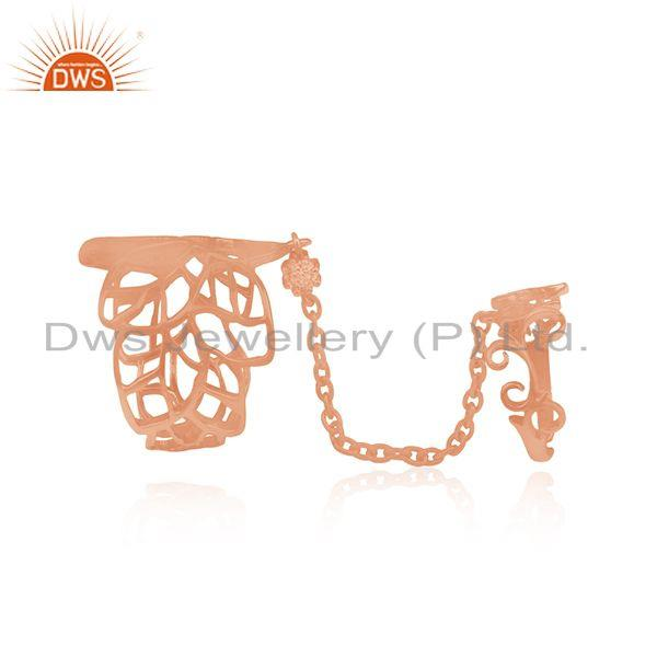 Exporter CZ Rose Gold Plated Leaf Design Knuckle Ring Jewelry