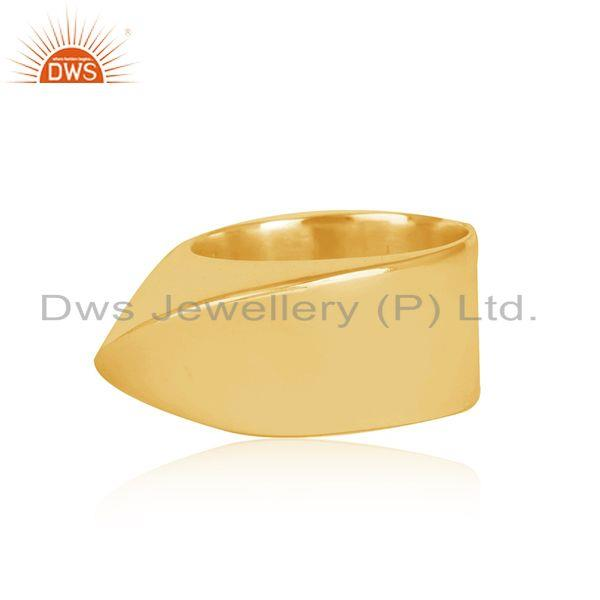 Exporter Wholesale Art Deco Gold Plated Plain Silver Band Ring Jewelry For Girls
