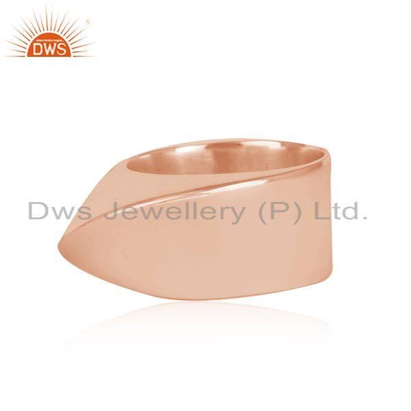 Exporter Wholesale Rose Gold Plated Designer Plain Silver Band Ring Jewelry