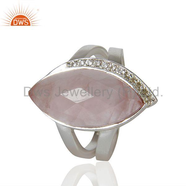 Exporter Rose Quartz Gemstone White Topaz Gemstone Sterling Fine Silver Ring
