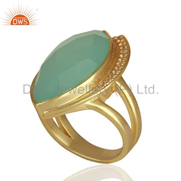 Exporter Aqua Chalcedony and Cz Gemstone 925 Silver Rings Manufacturers
