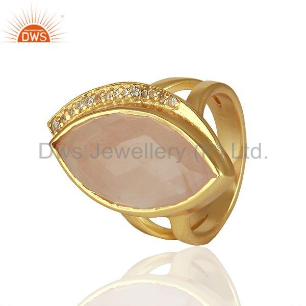 Exporter Rose Quartz and Cz Gemstone 925 Sterling Silver Rings Manufacturers