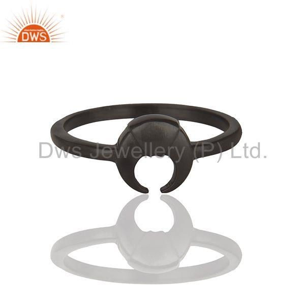 Exporter Horse Shoe Design Black 92.5 Silver Stackable Rings Manufacturers