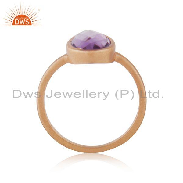 Exporter Natural Amethyst Birthstone Rose GOld Plated Ring Manufacturer India