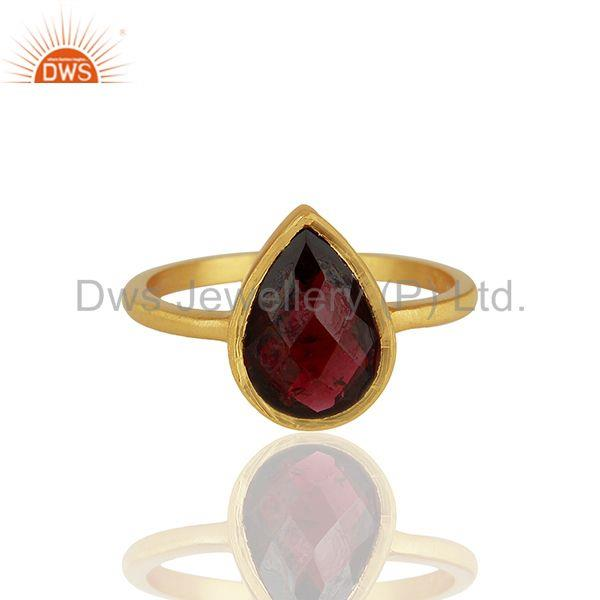 Exporter Garnet Gemstone Gold Plated 925 Silver Custom Rings Manufacturer