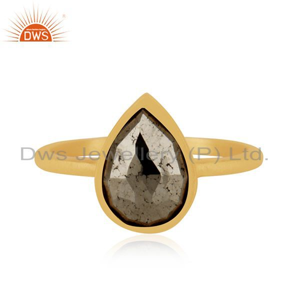 Exporter 14k Gold Plated Sterling Silver Pyrite Gemstone Ring Manufacturer INdia