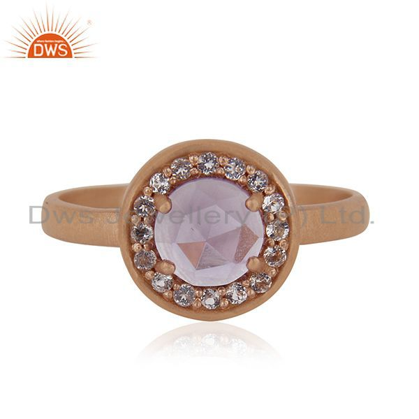 Exporter Handmade Rose Gold Plated Sterling Silver Birthstone Amethyst Ring Wholesale