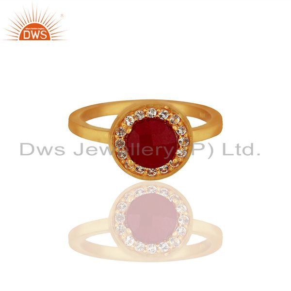 Exporter White Topaz and Ruby Gemstone 92.5 Silver Gold Plated Rings Jewelry