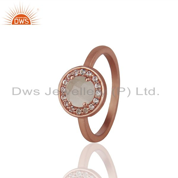 Exporter Rose Gold Plated 925 Silver Multi Gemstone Cutom Rings Wholesale