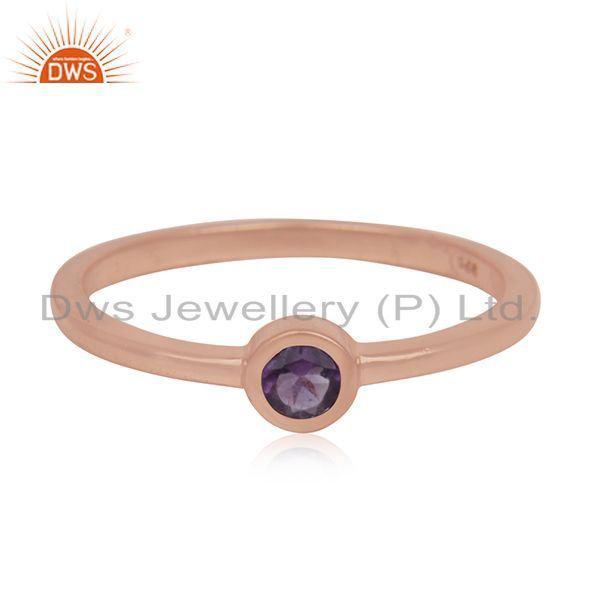 Exporter Natural Amethyst Gemstone Rose Gold Plated 925 Silver Ring Manufacturer India