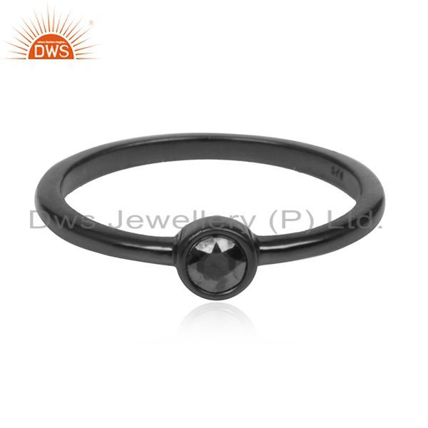 Exporter Hematite Gemstone 925 Silver Black Rhodium Plated Ring Manufacturer Jaipur India