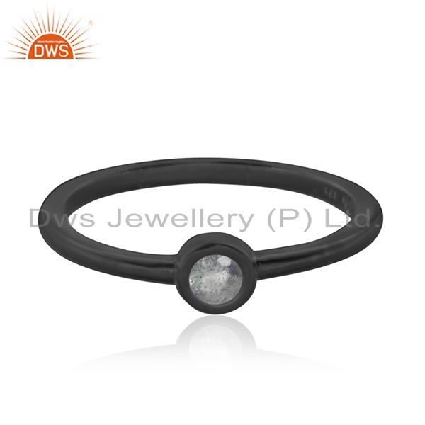 Exporter Labradorite Gemstone Black Rhodium Plated 925 Silver Stackable Ring Manufacturer