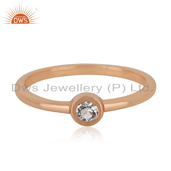 Exporter White Topaz Rose Gold Plated 92.5 Sterling Silver Handmade Ring Manufacturers
