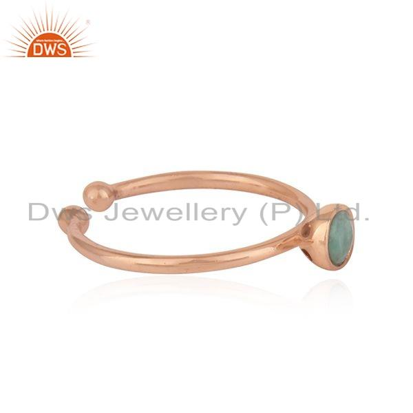 Exporter Natural Emerald Gemstone Rose Gold Plated Designer Silver Ring Jewelry