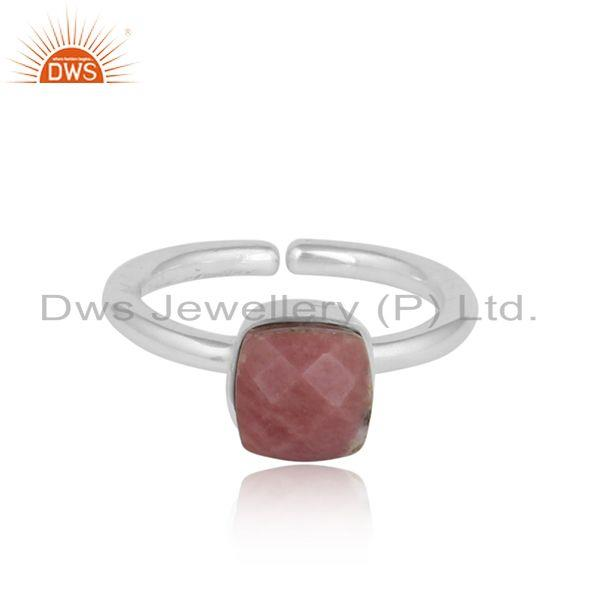 Designer handmade solitaire sterling silver ring with rhodonite