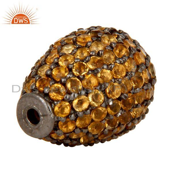 Exporter Oxidized Sterling Silver Pave Citrine Gemstone Finding Charms Jewelry