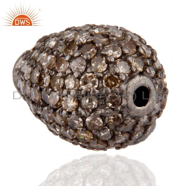 Exporter 925 Sterling Silver Bead with Pave Diamond Finding Jewelry