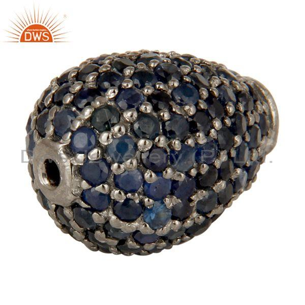 Exporter 925 Sterling Silver Pave Set Blue Sapphire Gemstone Finding Charms Jewelry