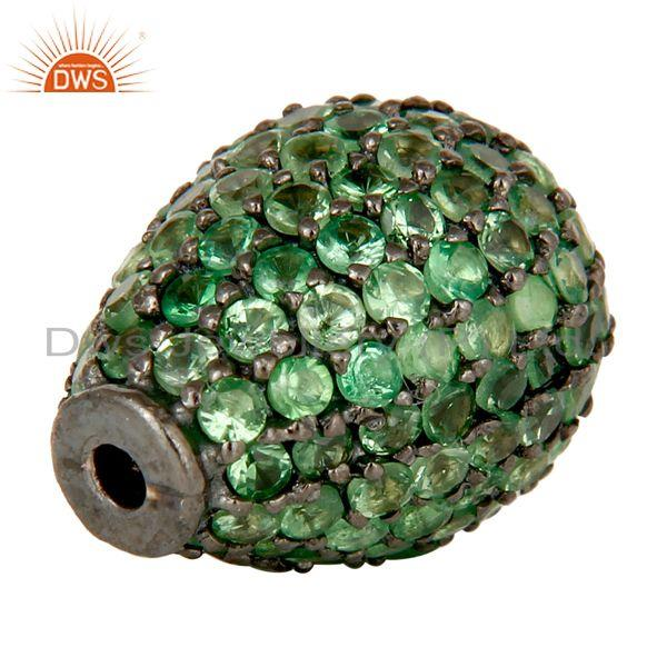 Exporter Oxidized Sterling Silver Pave Tsavorite Gemstone Beads Finding Charms Jewelry