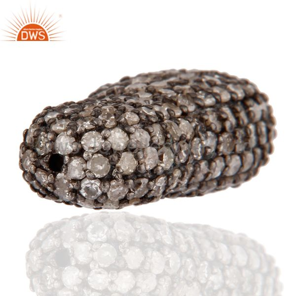 Exporter 925 Sterling Silver Pave Diamond Beads Charms Finding For Jewelry Making