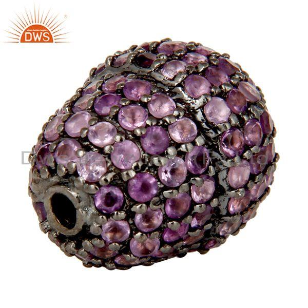 Exporter Oxidized Sterling Silver Pave Amethyst Gemstone Beads Finding Charms Jewelry
