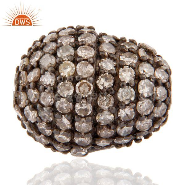 Exporter Natural Diamond Pave Studded Bead Finding Sterling Silver Spacer Jewerly