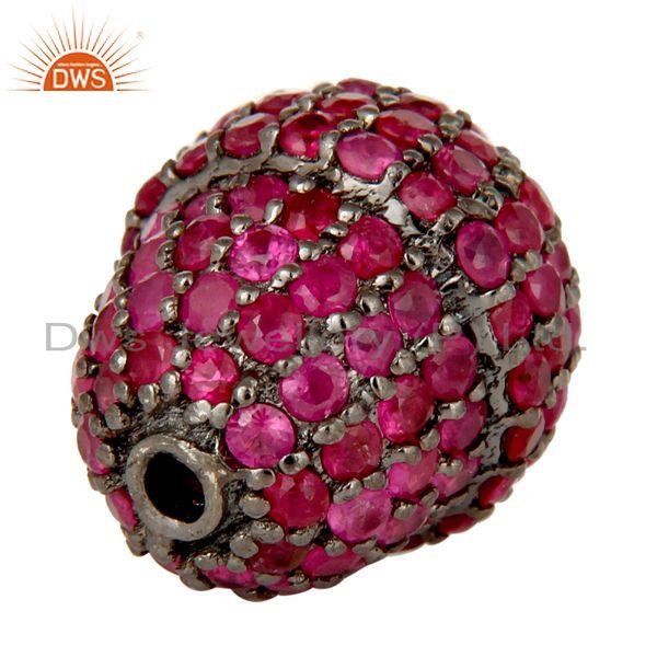 Exporter Oxidized Sterling Silver Pave Ruby Gemstone Beads Finding Charms Jewelry