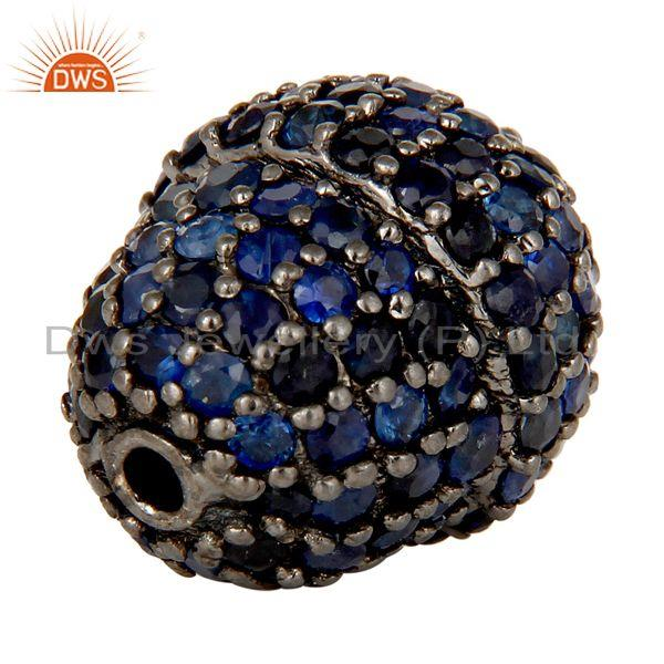 Exporter Oxidized Sterling Silver Pave Blue Sapphire Beads Finding Charms Jewelry