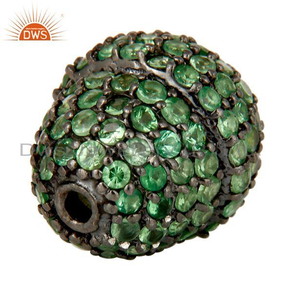 Exporter Oxidized Sterling Silver Pave Set Tsavorite Gemstone Beads Finding Charm Jewelry