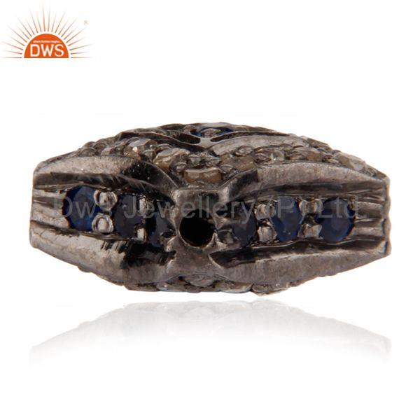 Suppliers 925 Sterling Silver Pave Diamond And Blue Sapphire Bead Finding Jewelry