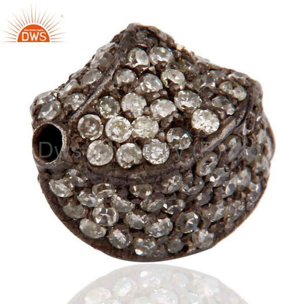 Exporter 925 Sterling Silver Pave set Diamond Bead Spacer Finding Jewelry