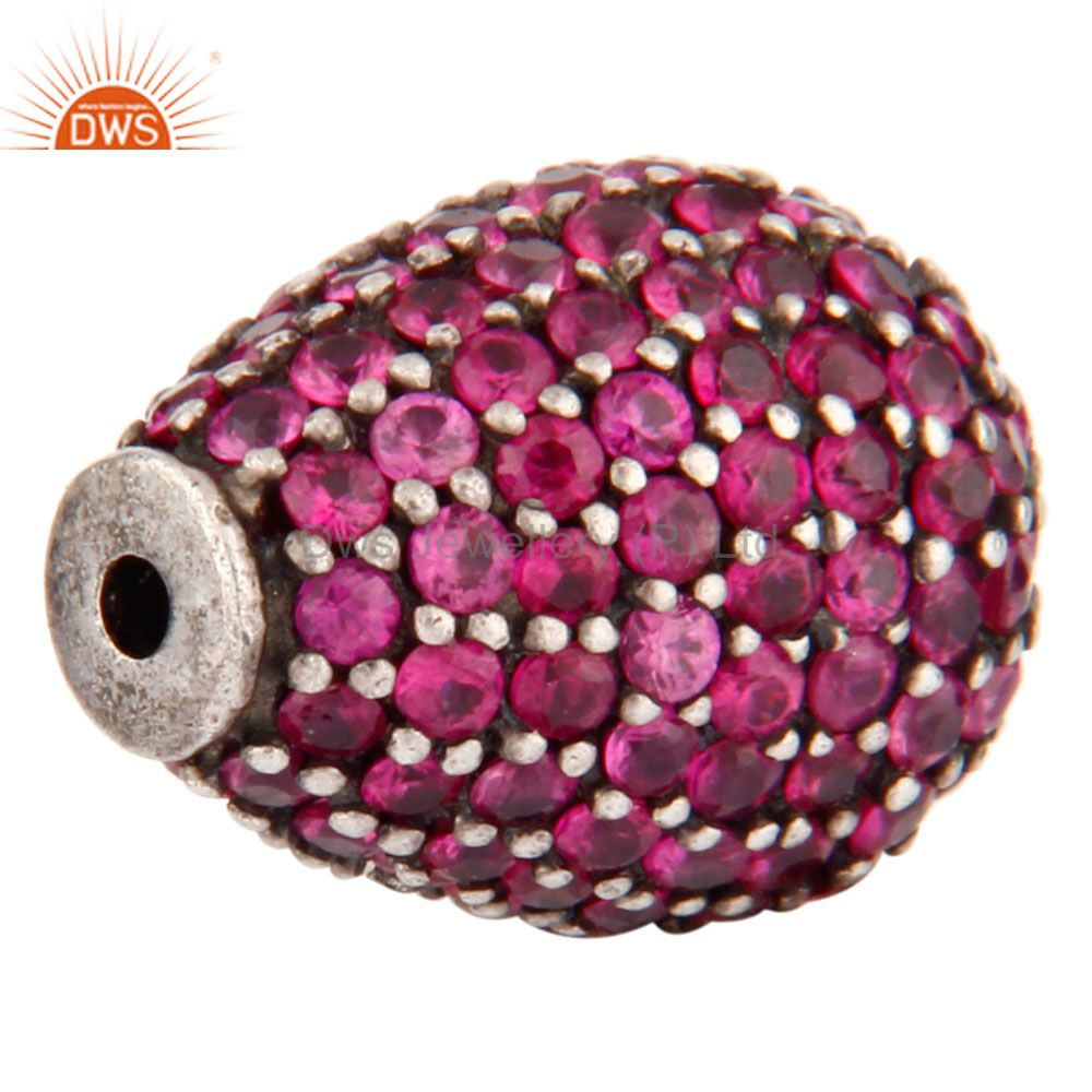 Exporter Ruby Gemstone Pave Beads 925 Sterling Silver Finding Jewelry