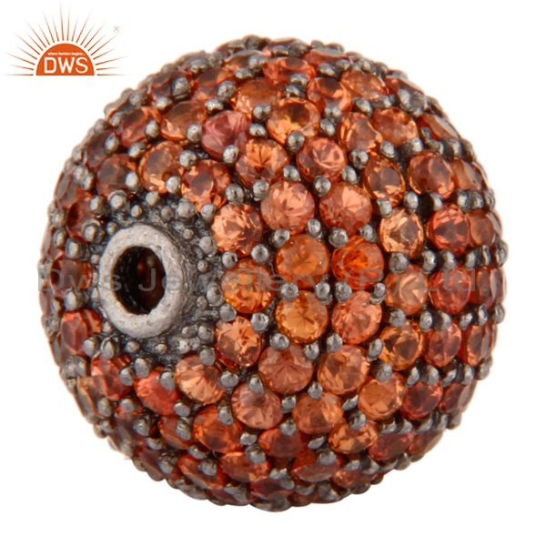 Exporter Orange Sapphire Gemstone Pave Diamond 925 Sterling Silver Bead Connector Finding