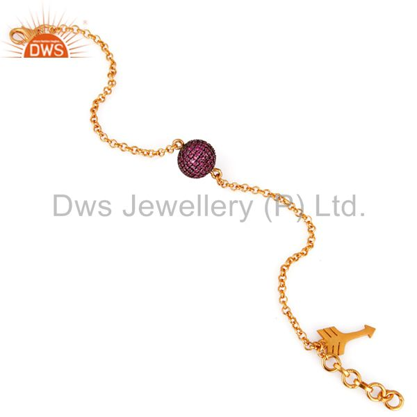Exporter 18k Gold Plated 925 Sterling Silver Ruby Gemstone Beads  Arrow Charm Bracelets