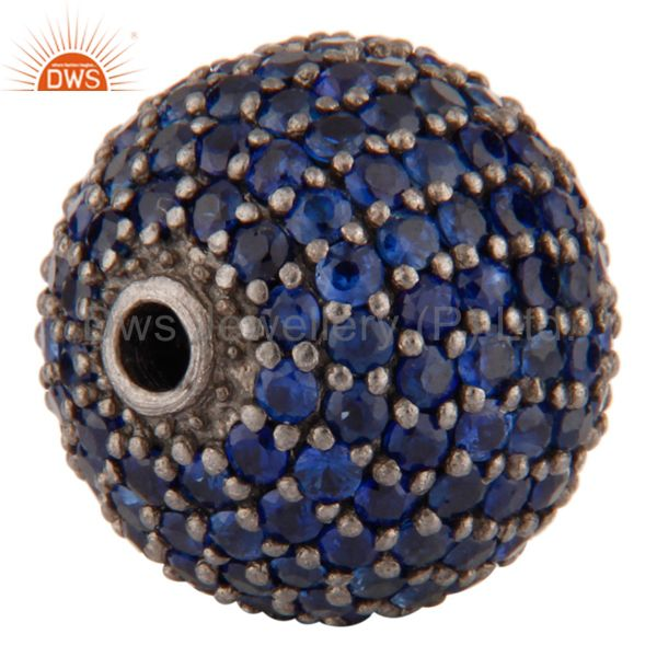 Exporter 925 Sterling Silver Blue Sapphire Gemstone Bead Finding For Jewelry Making