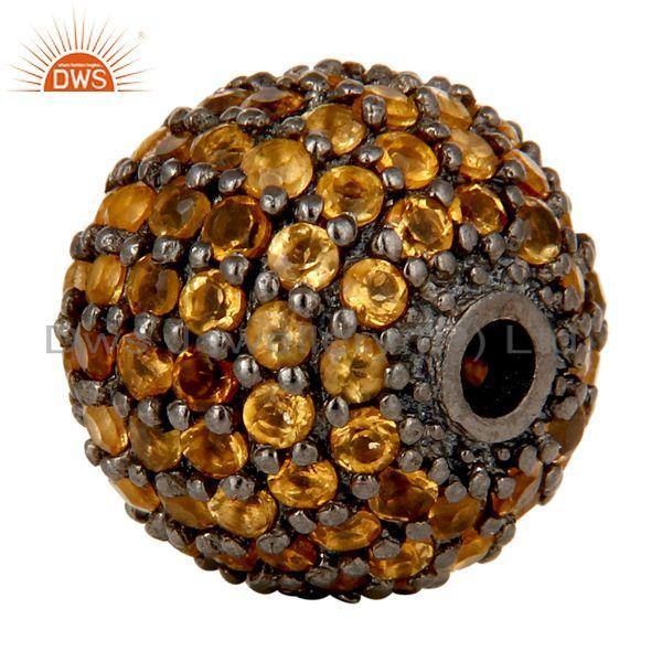 Exporter Oxidized Sterling Silver Pave Set Citrine Ball Beads Finding Charms Jewelry