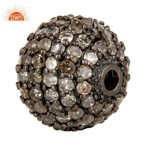 Exporter Oxidized Sterling Silver Pave Set Diamond Ball Beads Finding Charms Jewelry