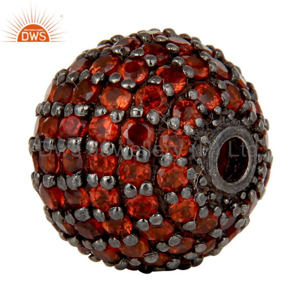 Exporter Oxidized Sterling Silver Pave Set Garnet Ball Beads Finding Charms Jewelry