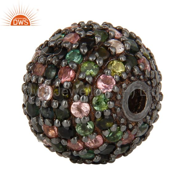 Exporter Oxidized Sterling Silver Pave Multi Tourmaline Ball Beads Finding Charms Jewelry