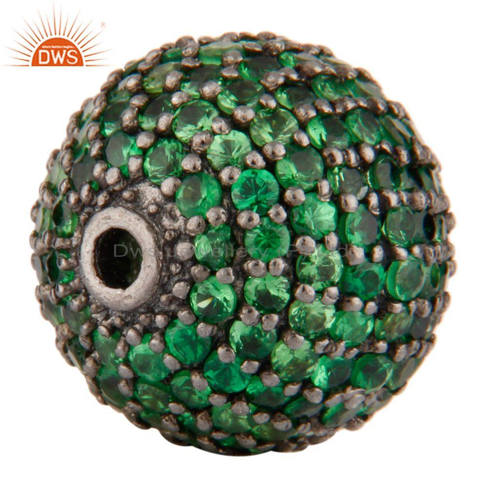 Exporter Oxidized Sterling Silver Natural Tsavorite Pave Set Spheres Beads Findings