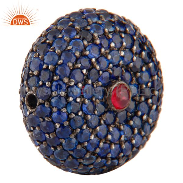 Exporter Blue Sapphire & Ruby Gemstone Bead Sterling Silver Spacer Bead Finding Jewelry