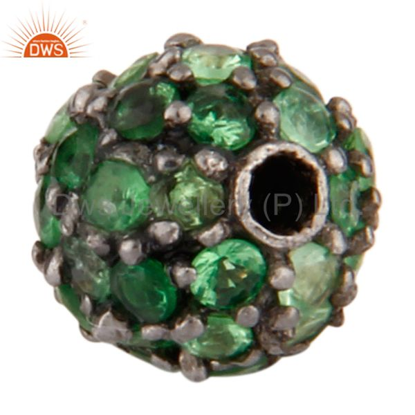 Exporter 6mm Tsavorite Gemstone Pave Sterling Silver Beads Finding Spacer Bead Jewelry